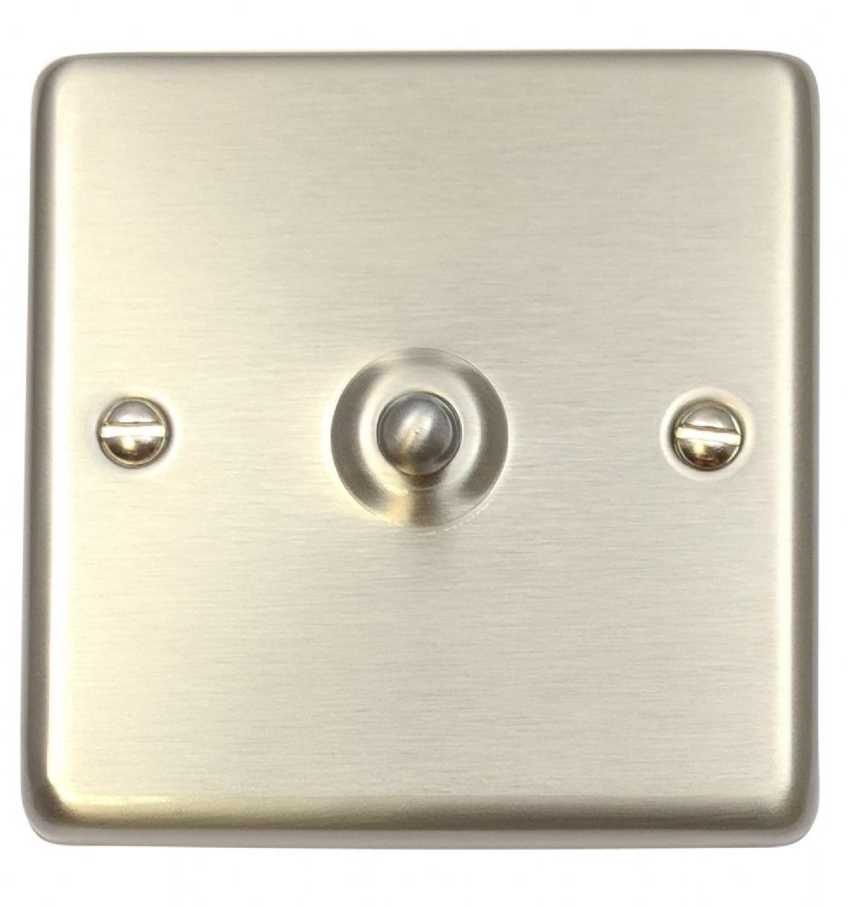 G&H CSS281 Standard Plate Brushed Steel 1 Gang 1 or 2 Way Toggle Light Switch
